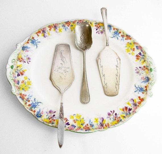 Epns silver plate cake servers and art nouveau sugar spoon silver
