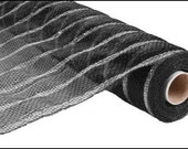 21 Inch Black Thin Silver Stripe RE103382, Deco Mesh Supplies