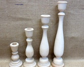 """Wooden Candle Holders / Candlesticks 11, 9, 6-3/4, 4"""" Inches Tall Lot Of 4"""