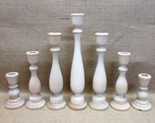 Wooden Candle Holders / Candlesticks 11, 9, 6-3/4, 4 Inches Tall Lot Of 7 Wedding Set