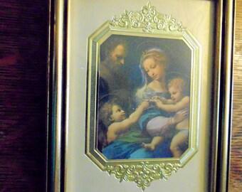 Religious Picture, MADONNA of the ROSE. Gold. Framed Print.  Raphael. vintage 1970s. RENAISSANCE Art. gift idea.
