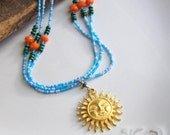 Sundance Inspired, Sundance Style, Southwestern Necklace, Turquoise, Orange, Seed Bead Necklace, Sun, Etsy, Beaded Necklace