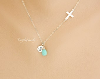New Mom Necklace, Sideway Cross Necklace, Birthstone Necklace, Handprint Necklace, New Baby Necklace, Newborn necklace, Mothers Day Gift,