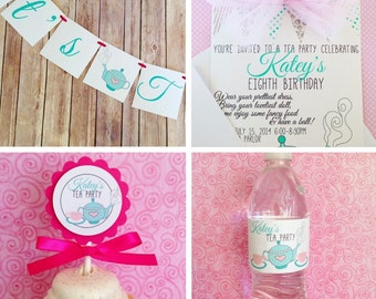 tea party birthday pack, custom tea party party pack for 20, tea party birthday package, pink blue tea party package