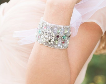 Bridal Bracelet, Bridal Cuff, Bridal Jewelry, Vintage Wedding, Statement Bracelet, Wedding Accessories
