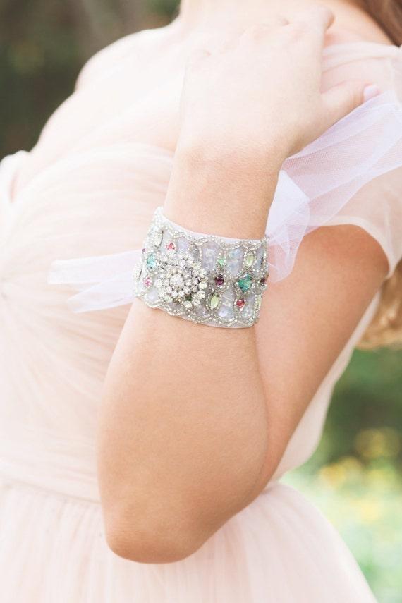 Bridal Bracelet, Bridal Cuff, Bridal Jewelry, Vintage Wedding, Statement Bracelet, Wedding Accessories