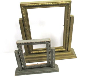 2 Art Deco Wooden Swing Frames Antique Gold & Silver - Home Decor
