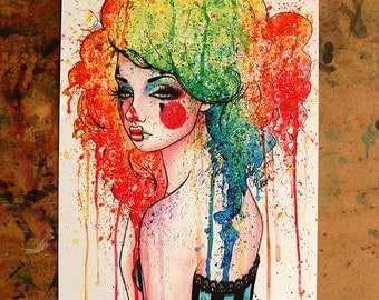 Masked Sad Clown Girl Pop Art Rainbow Splatter Portrait Watercolor Painting Signed Print by Carissa Rose 5x7, 8x10, or 11x14