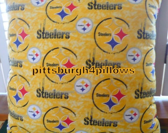 NFL - Pittsburgh Steelers Football Pillow -  Yellow Circles - Cotton Front Fleece Back - 18 x 18 Before Finishing