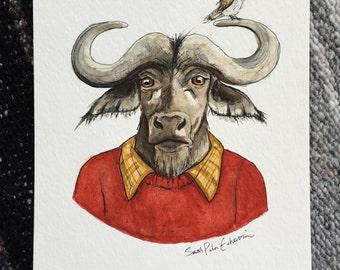 Original Watercolor of Professor Cape Buffalo