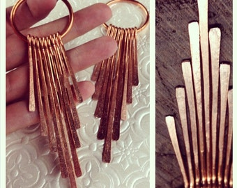 Copper Solar Flare Dangles - Earrings for Stretched Lobes - Gauges