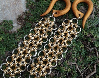 Honeycomb Ribbons - Earrings for Stretched Lobes - Chain-maille Dangles