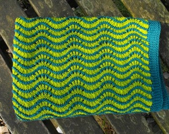 blanket - green and blue hand knitted blanket made of cotton yarn