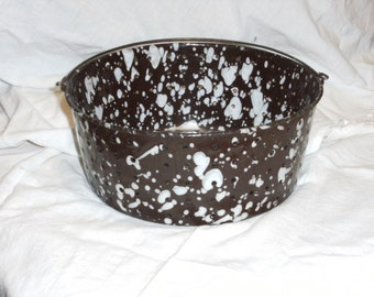 Vintage Brown and White Spatterware Enamel Colander with Handle