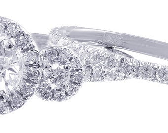 14k white gold round cut diamond engagement ring and band halo deco 1.50ct