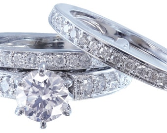 18k round cut diamond engagement ring and band antique deco style 1.50ct