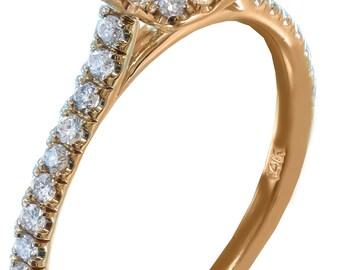 14k rose gold cushion cut diamond engagement ring art deco halo 1.30ctw
