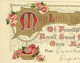 Floral Friendship Greeting on Vintage Postcard BB London Birn Brothers 1912 Pink Roses and Golden Banner