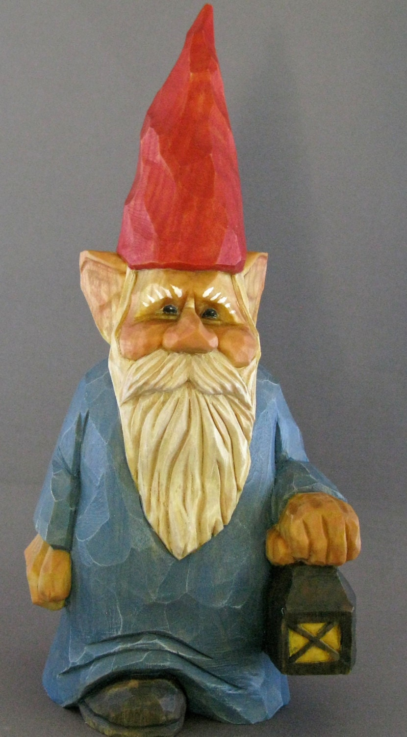 Wood carved gnome christmas scandinavian lantern candle