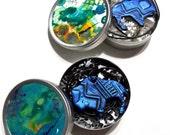 Small Geometric Buffalo Necklace - Metallic Blue - Mykonos Blue, Dazzling Blue, Summer, Fall, Buffalos, Southwestern, One of a Kind, Women
