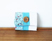 CLEARANCE--Light Aqua Blue and White Floral Cloth Business or Credit Card Holder w Wooden Button