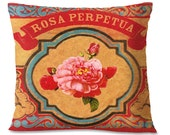 Mexican ROSE Decorative Pillow Cover - ROSA PERPETUA - Linen Backing - Southwestern Home Accents