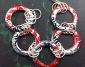Diet Coke Bracelet of RINGS.  Recycled Soda Can Art. DOUBLE-sided.