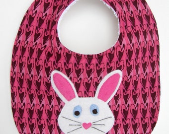 Easter Bunny Baby Bib - Pink Hearts with White Bunny