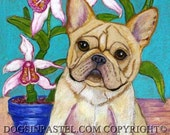 French Bulldog Painting art French Bulldog painting art orchid Frenchie Original Painting