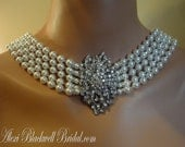 Audrey Hepburn Necklace FIVE Strand pearl necklace with 5 strands of Swarovski Pearls and crystals sexy back drop back drape Holly