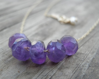 Gold Necklace, Amethyst Jewelry, Amethyst Necklace, Faceted Rough Finished Purple Amethyst, Everyday Gift For Her, February Birthstone