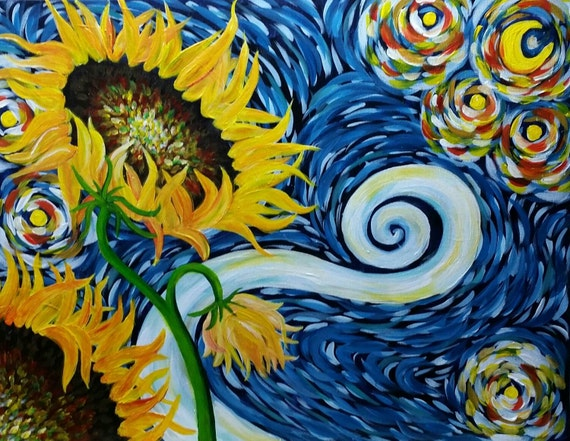 Ideas for beginners easy canvas painting ideas canvas painting ideas - Cinnamon Cooney S Starry Night Sunflowers 16x20 Acrylic