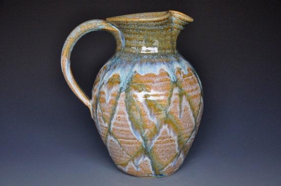 Pottery Pitcher Juice Pitcher Ceramic Jug Blue Green A
