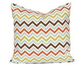 Decorative Throw Pillows Chevron Throw Pillow Covers18 x 18 Inches - Chocolate Brown, Rust, Blue and Olive Green on Natural Zig Zag Chevron