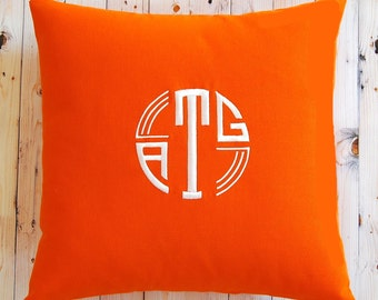 Monogram Pillow Cover - Decorative Pillow Cover - Personalized Pillow - Personalized Gift - Solid Fabric with Modern Monogram