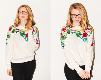 Cream Sweater with Floral Embroidery Small/Medium