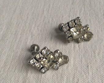 Vintage rhinestone Coro screw clip earrings