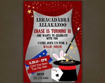 Magic Show Birthday Invitations. Printable File, Magic Hat, Bunny, Magic Wand, Magician Invitation, Magic Cards
