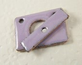 Pink/Lavender Rectangular Two Strand Enameled Toggle Clasp and Bar