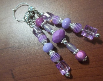 Beaded Zipper Pull / Set of Three / Purse Charm / Bag Fob / Shoe Charm