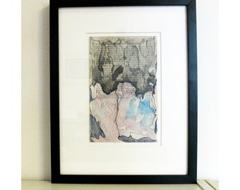 Original framed watercolor painting, pink and gray abstract, book page art, Colonization: Wonders of the Heavens