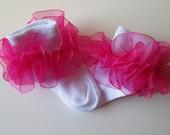 Bright Pink Sheer Organza Ruffled Ribbon Socks