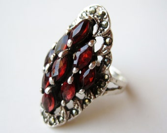 Vintage Ring Jeweled Red Garnet Art Deco Sterling Silver Ring size 7.5