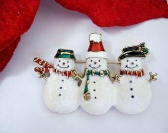 vintage snowman christmas brooch, holiday pin, christmas brooch