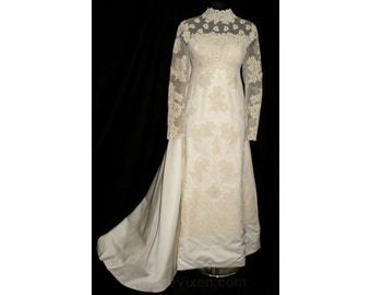 Fine Alencon Lace & Satin Empire Bridal Gown by Priscilla of Boston - Size 9 - 1960s Wedding Dress - Attached Train - Bust 36 - NWT 32786-1