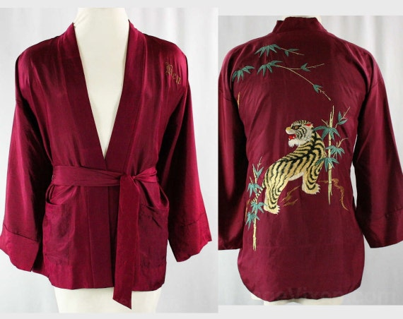 1940s Tiger Embroidery Silk Kimono Robe - Men's Small - Medium - Personalized 'Ben' - Authentic 30s to 40s - Burgundy - Chest 40 - 43067