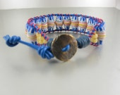 Ethnic Tribal Bracelet, Yellow, White, Blue Recycled Handpainted Glass Beads, Blue Greek Leather Cord, Iconic Ladder Bracelet, Adjustable.