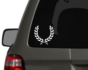 Laurel Wreath Vinyl Car Decal BAS-0153