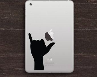Shaka Sign, Hang Loose Hand Silhouette Vinyl iPad Decal BAS-0253