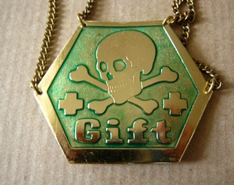 Somewhat joky badge on chains